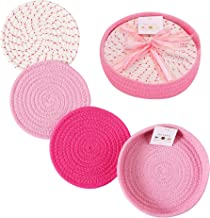 Woven Cotton Trivet Set with Holder, Hot Pads for Table, Farmhouse Kitchen Counter Decor (Pink)