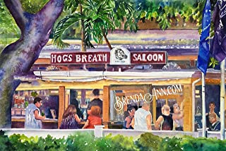 Hog's Breath Saloon Key West - Fine Art Wall Art Artwork Watercolor Art Print by Brenda Ann