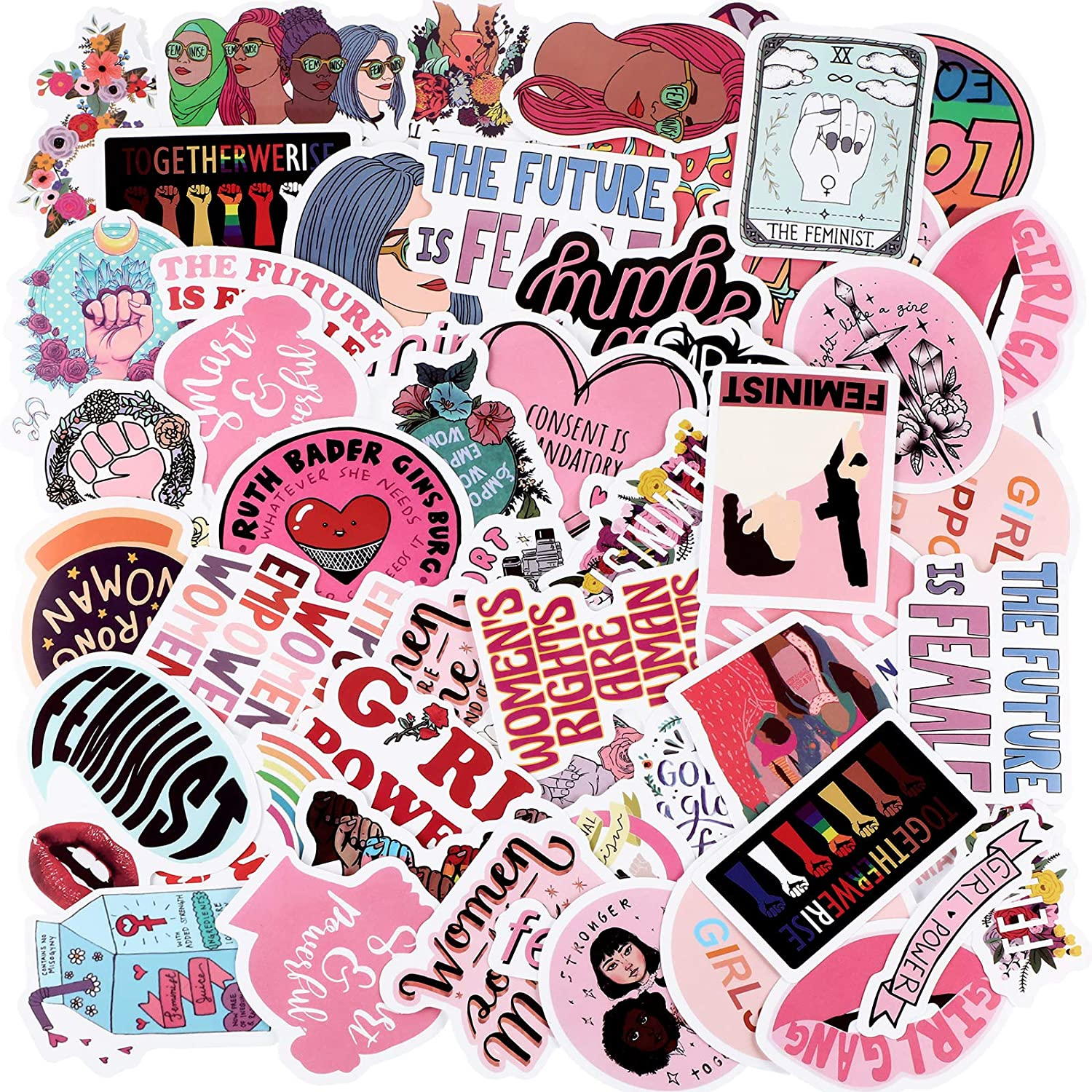 100 Pieces Feminist Stickers Feminism Party Supplies Stickers for Girl, Waterproof Vinyl Stickers Colorful Laptop Stickers Trendy Aesthetic Decals for Water Bottle Laptop Car Bumper