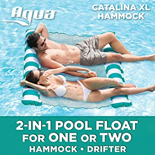 Aqua Catalina XL Hammock, 4-in-1 Multi-Purpose Inflatable 1-2 Person Pool Float, Water Lounge, Teal/White Stripe