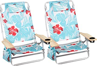 Hangten Beach Chairs Lightweight (2-Pack) Backpack Camping Chair Folding 5-Position Layflat Portable Arm Chairs with Towel Bar, Supports 250 LBS
