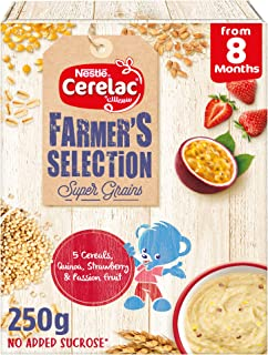 Nestle Cerelac Farmer's Selection 5 Cereals, Quinoa, strawberry, passion fruits Infant Cereal, From 8 months, 250g