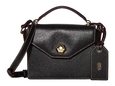 Frances Valentine Mini Midge Flat Crossbody (Black) Handbags
