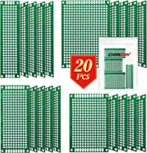 Chanzon 20 Pcs Double Sided PCB Board (4 Sizes - 2X8 3X7 4X6 5X7) Tinned Through Holes FR4 Prototype Kit Printed Circuit Universal Perfboard for DIY Soldering Project Compatible with Arduino Kits