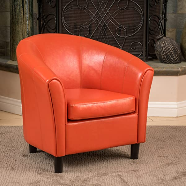 Christopher Knight Home 213807 Napoli Bonded Leather Club Chair Orange