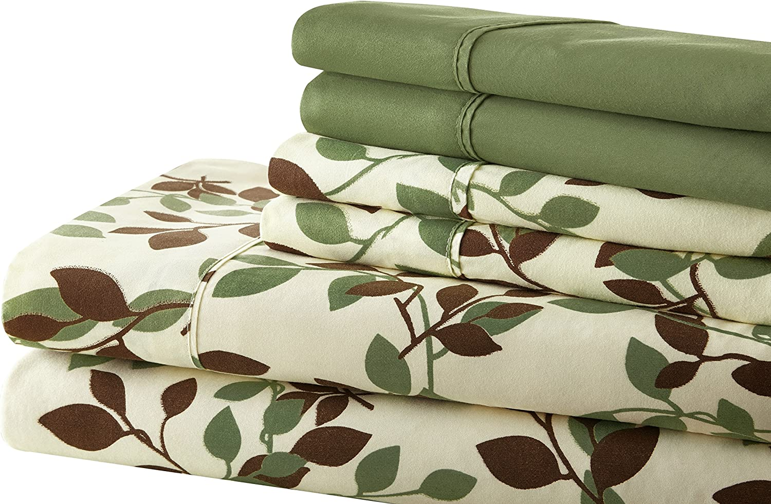 Spirit Linen Palazzo Home 103GSM 6-Piece Luxurious Printed Sheet Set, Full, Green Brown Leaves