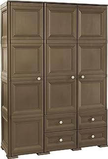 Tontarelli Omnimodus Armoire 3 Portes 4 tiroirs Wengé, 118 x 47 x 164 cm