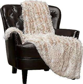 Chanasya Super Soft Shaggy Frosting Tip Longfur Throw Blanket - Snuggly Fuzzy Faux Fur Lightweight Warm Elegant Cozy - for Couch Bed Chair Sofa Daybed Coffee Beige Blanket - (50x65) - Beige Mocha