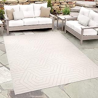 """Orian Rugs Jersey Home Indoor/Outdoor Hexabulous Area Rug, 5'1"""" x 7'6', Ivory"""