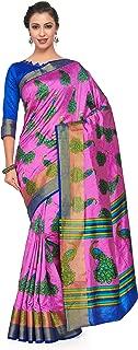 Kupinda Art Kalamkari Prints Saree with ikkat, pochampally and Kanjivaram Print Pattren ith Contrast Blouse Color: Pink (4257-RP6-SALN-19-PNK)