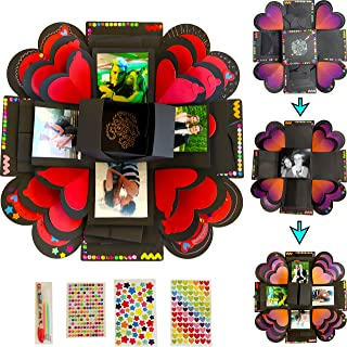 Explosion Box Gift Set with 3 LAYERS by Box Of Life|Creative DIY Exploding Scrapbook for Anniversary, Valentines Day, Birthday|Surprise Photo Album|Assembled Memory Picture Box|Romantic Love Kit|14x14