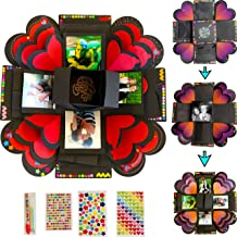 Explosion Box Gift Set with 3 LAYERS by Box Of Life Creative DIY Exploding Scrapbook for Anniversary, Valentines Day, Birthday Surprise Photo Album Assembled Memory Picture Box Romantic Love Kit 14x14