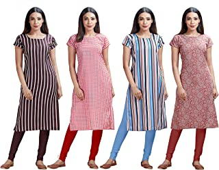Brosis Deal Women's Crepe A-Line Kurti's Pack Off-4
