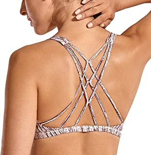 CRZ YOGA Women's Removable Pads Yoga Top Cross Strappy Back Sports Bra
