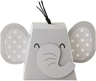 Kate Aspen 28381NA Adorable Elephant Favor Box (Set of 12), One Size, Grey & Black
