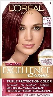 L'Oréal Paris Excellence Créme Permanent Hair Color, 4RM Dark Mahogany Red, 1 kit 100% Gray Coverage Hair Dye