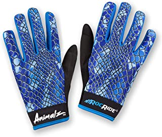 RocRide Animalz Cycling Gloves Blue Viper. Full-Fingered with Screen Compatible Tips. Mountain Biking, Road and BMX. Expressive Animal Print Designs.