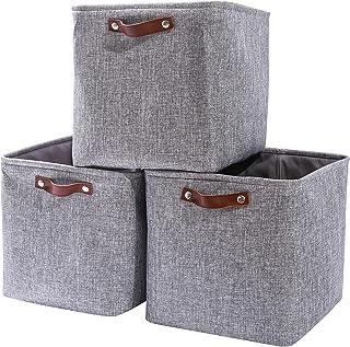 Boîte de rangement Cube, 4 paniers de Rangement en Tissu, 33x38x333cm pour Chambre à Coucher, Artisanat, infirmière (Gris/...