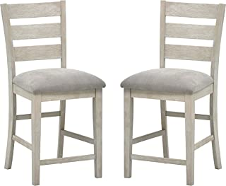 Stone & Beam Decatur Wood Kitchen Counter Stools, Set of 2, 40.5 Inch Height, Grey
