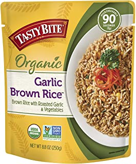Tasty Bite Brown Rice Garlic 8.8 Ounce (Pack of 6), Whole Grain Garlic Brown Rice, Fully Cooked, Ready to Serve, Microwave...