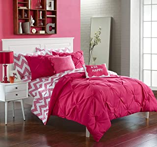 Chic Home 9 Piece Louisville Pinch Pleated and Ruffled Chevron Print Reversible, Hashtag Pom Velour Pillow Full Bed in a Bag Comforter Set Fuchsia Sheets Included