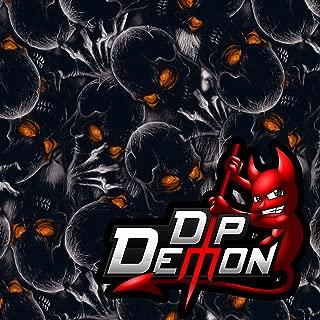 Orange Eyed Boogeyman Skulls Hydrographic Water Transfer Film Hydro Dipping Dip Demon