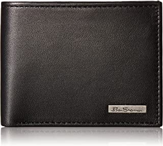 Ben Sherman Men's Brick Lane Sheepskin Leather Traveler Passcase Wallet with Logo Pla