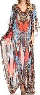 Wilder Printed Design Long Sheer Rhinestone Caftan Dress/Cover Up