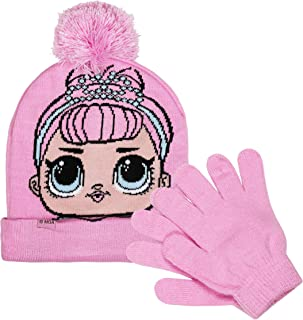 L.O.L. Surprise! Pink Jacquard Knit Pom Pom Beanie Hat & Magic Glove Set 2 Pieces Winter Accessories Set for Girls