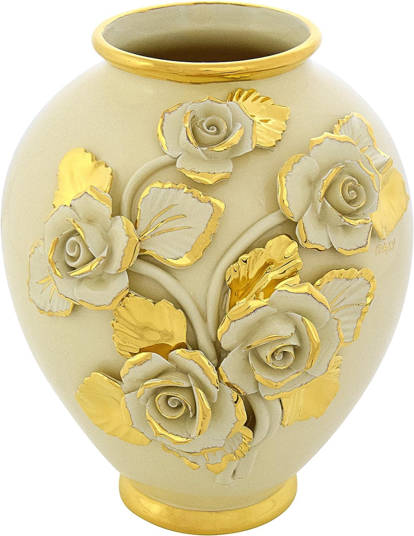 CERAMICHE D'ARTE F.L. ORGIA Vaso BRIO Rosa Rosa Rosa Vase Keramik Barock Stil Artistic Kreationen 24k Gold Deko Made  B0751LNLNB 74876e