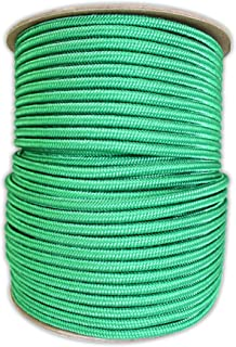 Braided Polyester Rope (1/4 in - 6mm) Braid on Braid Stiff Halter Cord - DIY Horse Halter - Low Stretch 6mm Cord for Arborist/Tree Rigging, Climbing, Hiking, Crafting