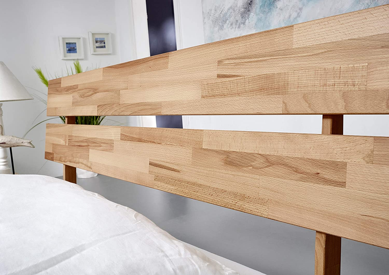 geteiltes Kopfteil Kernbuchen-Holz SAM Holzbett 140x200cm Pori Comfort massives Holzbett