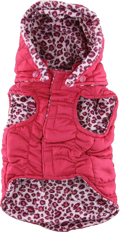 Casual Canine Vibrant Leopard Reversible Pet Vest, Small Medium, Raspberry