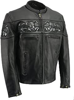 M-BOSS MOTORCYCLE APPAREL-BOS11514-BLACK-Reflective skull premium cowhide leather motorcycle jacket.-BLACK-4X-LARGE