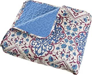 Twin Quilt Bed Set, 2 Piece Reversible Microfiber Quilt Bedding Set With Shams –Alexandra Embossed Quilt Bedroom Set by Bedford Home (Blue)
