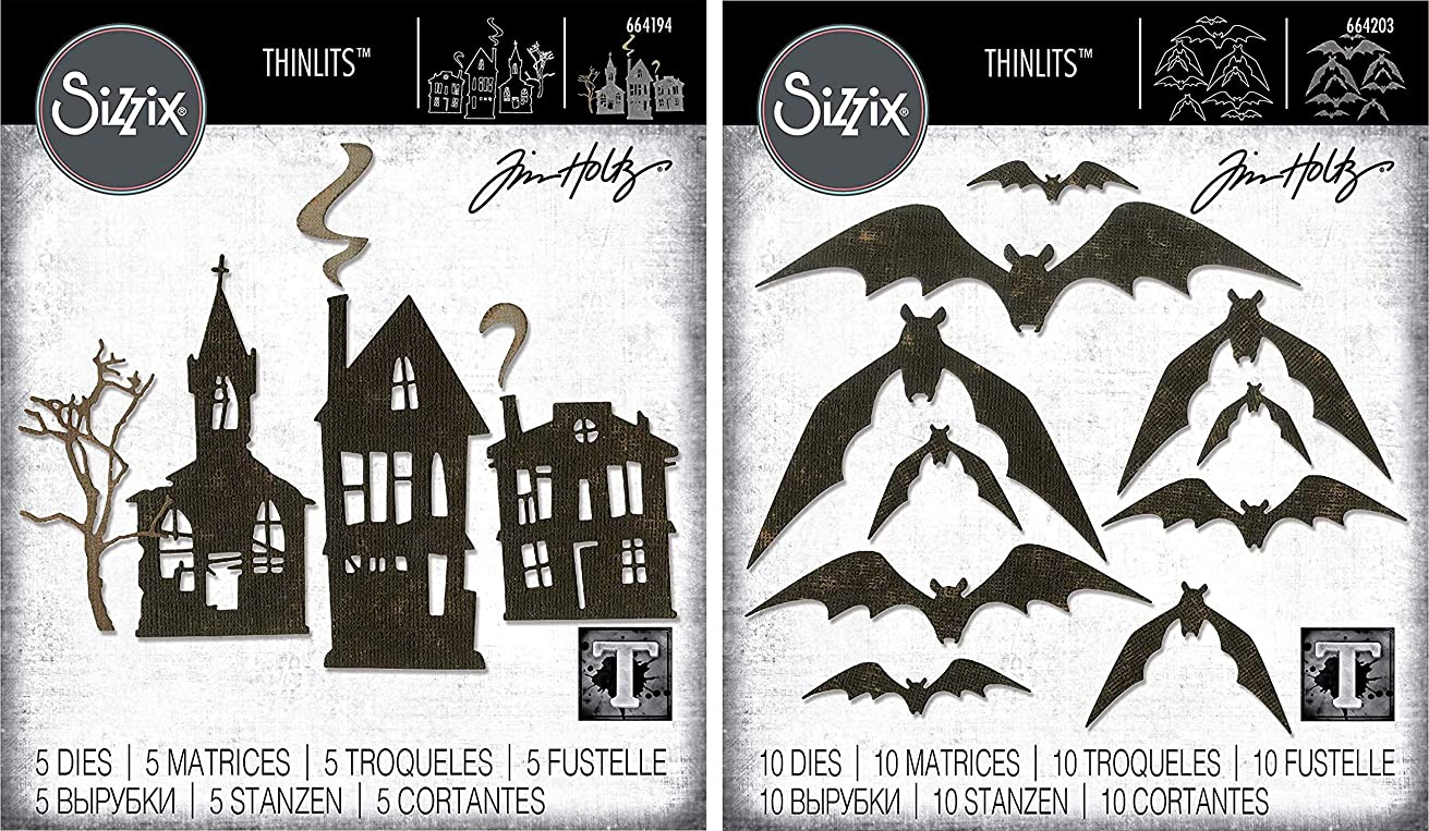 Tim Holtz Sizzix Thinlits 2019 Halloween Dies - Ghost Town and Bat Crazy - 2 Items