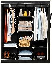 Amazon Brand - Solimo 3-Door Foldable Wardrobe, 8 Racks, Black