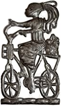 Girl in a Bicycle, Riding Bike Haitian Metal Art from Recycled Oil Drums, Fair Trade, 9 in. x 16 in.