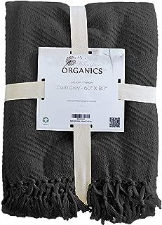 Whisper Organics Organic Cotton Throw Blanket GOTS Certified - Diamond Jacquard Weave (60x80, Dark Grey)