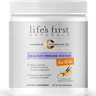 Life's First Naturals Kids Healthy Immune System Support with ColostrumOne, Nutritional Supplement with Ethically Sourced Colostrum, 7 oz Powder with Natural Vanilla Flavor