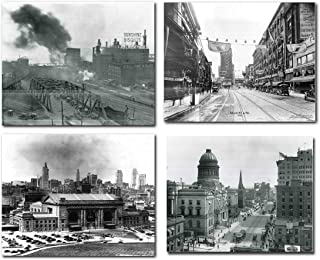 Missouri Kansas 1922 West Bottoms, 1926 Old Car, Union Station 1935, State Capital American History Educational Vintage City Set Four 16x20 Black And White Wall Decor Art Print Poster