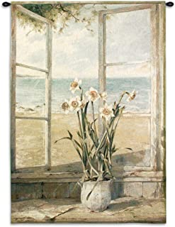 Ocean Narcissus by Fabrice de Villeneuve - Woven Tapestry Wall Art Hanging - Still Life Flower and Oceanside - 100% Cotton USA Size 53x38