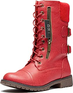 Womens Military Up Buckle Combat Boots Ankle Mid Calf Fold-Down Exclusive Credit Card Pocket