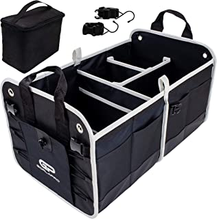 GorlaPro Premium Heavy Duty Trunk Organizer for Car SUV Auto Collapsible Portable with Multiple Compartments for Easy Storage with Bonus Insulated Cooler