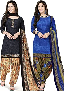 Rajnandini Women's Blue and Navy Blue Crepe Printed Unstitched Salwar Suit Material (Combo Of 2) (Free Size)