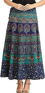 Raika Fashions 100% Cotton Women's Jaipuri Wrap Around Skirt - (Free Size, Multi-Coloured)