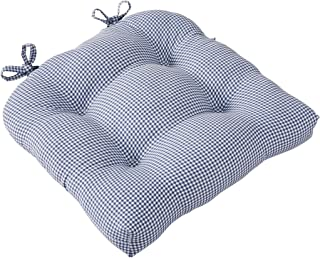 Ellis Curtain Logan Gingham Check Print Cushioned Chair Pad, Blue