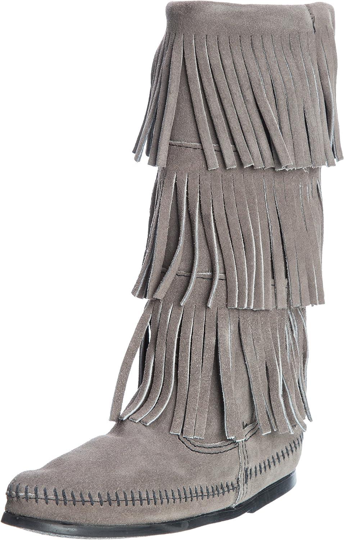 Minnetonka 1631T Calf Hi 3-Layer Fringe Stiefel, Damen Stiefel