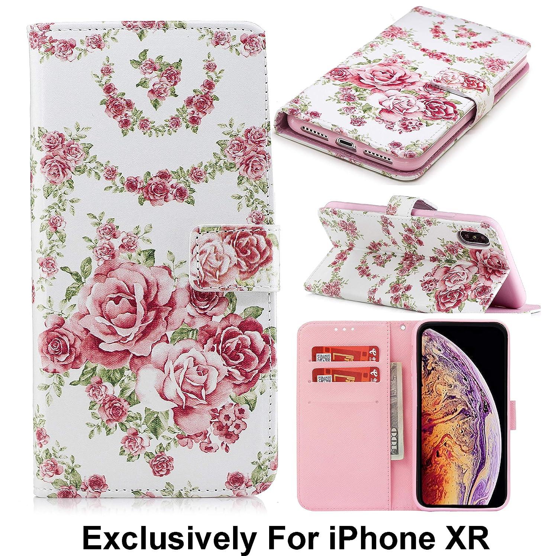 Pelotek; iPhone XR Rose Wallet Case, iPhone XR Flower Wallet Case   Elegant Colorful Floral Design Rose Pink Flip Case   with Premium Leather Strong Inner Case Credit/ID Card Money Holder Slots (Pink