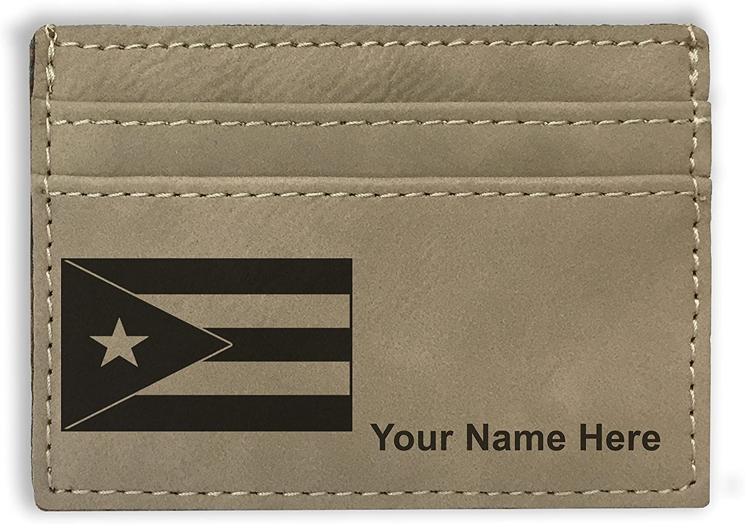 Money Clip Wallet - Flag of Puerto Rico - Personalized Engraving Included (Light Brown)